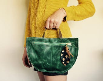 SAMPLE///Half Moon Mixed Leather Pouch//with Handle