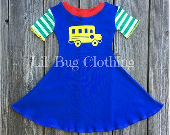 Back to School Girl Dress, Back To School Girl Outfit, Back To School Bus Comfy Knit Dress, Back To School Bus Dress, Back To School Outfit