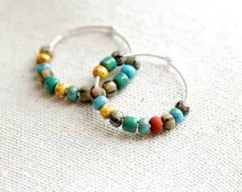 Bohemian Hoop Earrings, Southwestern Earrings, Sterling Silver Hoops, Hoop Earrings, Boho Hoops, Turquoise Green Terra Cotta Beaded Hoops