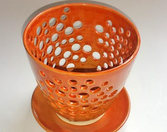 Orange Orchid Flower Pot with Air Vents and Matching Drip Saucer - Make Your Orchid Happy! Wheel Thrown Pottery