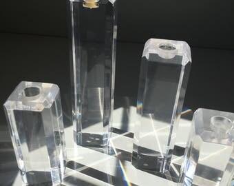 Set of 4 vintage lucite acrylic candle holders - George Bullio