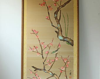 Vintage gold silk Japanese cherry blossom wall art - framed wall hanging