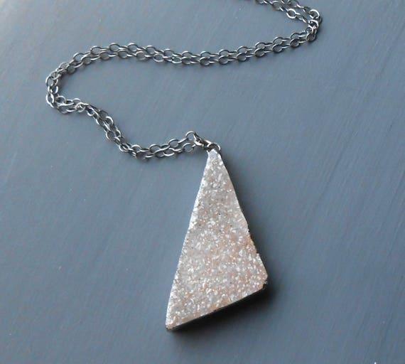 Oxidized Sterling Silver Druzy Necklace