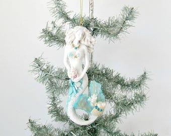 Mermaid Holiday Xmas Ornament, Seashell Mermaid, Mermaid Bling Christmas Tree Decor, Coastal Beach Xmas Decor, 00AK Mermaid, Mermaid statue