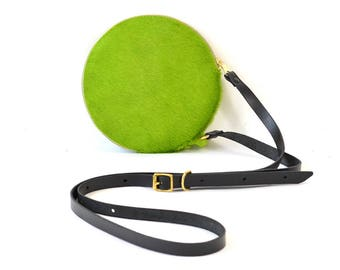 Cici - Handmade Green Leather Round Shoulder Bag Zip Pouch Purse AW17