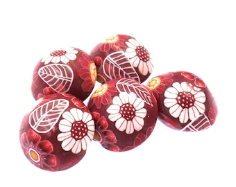 Polymer Clay Lentil Beads, Red Flowers, 5 Pieces