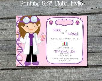 Science Party Invite   Scientist Birthday Invitation   Science Lab   Girl Science   Pink Purple   Printables   Digital Download   5x7