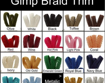10 Yards - Gimp Braid Trim, Your Choice of Color