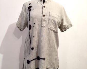 Zen Ink Henley Short Sleeved Shirt - Unisex, cotton, henley collar, pocket shirt, men, women, short sleeved, natural, grey fair trade shirt