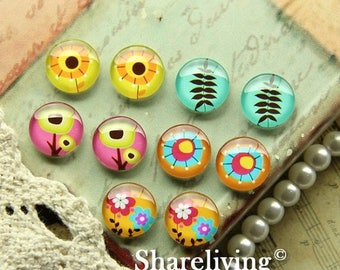 SALE - 30% OFF Time Limited Offer - 20 Percent OFF - 10pcs 12mm Mixed Handmade Photo Glass Cabochon / Wooden Cabochon  -- Mch004D