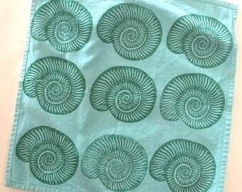 Blue and Green Seashell Block Printed Cloth Napkins - Seashell Block - Coastal Decor - Boho Cloth Napkins
