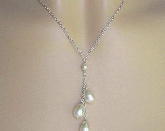 Wedding Necklace, Bridal Pearl Necklace, Triple Pearl Drop, Pearl Bridal Necklace in White or Ivoy Pearls, Wedding Jewelry by JaniceMarie