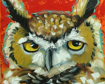 Owl painting 133 12x12 inch original oil painting by Roz