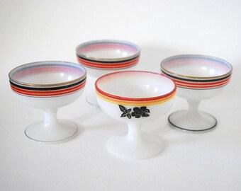 Hazel Atlas Platonite Sherbet, Art Deco Glassware, Ovide Platonite Dessert Cup, Vintage Milk Glass Dessert Bowls, Black Rose Dish