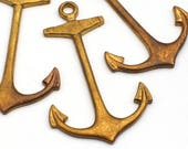 3 pcs brass anchor charms, long vintage stampings pendants 42mm