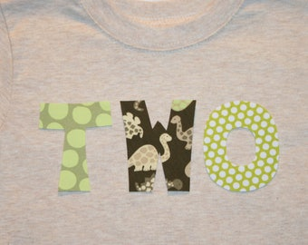 Boys Dinosaur TWO Shirt for 2nd Birthday - long sleeve heathered tan shirt with lettering in lime and green