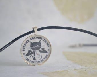 Pussies Against Trump Pendant Necklace - Black Leather Necklace