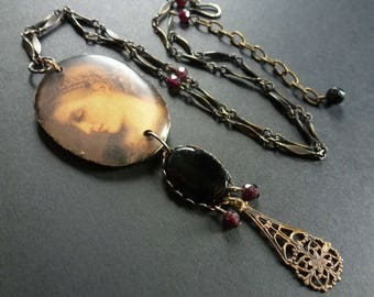 Eurydice ~ resin art necklace with vintage brass chain and garnet beads ~ rustic shabby ~ mythology OOAK