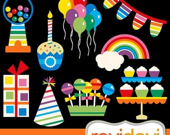 35% OFF SALE Rainbow Party Digital clip art / Cool Rainbow Party Clipart 07412