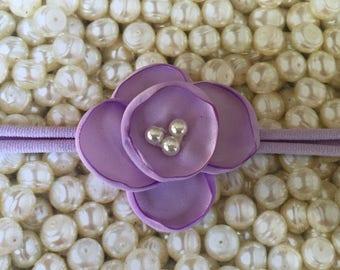 Preemie Headband, Lavender Headband, Small Bows, Baby Bows, Newborn headbands, Nylon Headbands,hair bows, Flower Headband Lavender Baby Bow
