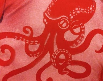 Red Steampunk Octopus T shirt Valentine's Day Bleach Dyed Shirt size Large