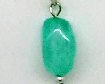 Milky Blue Funky Rectangle Beaded Pendant Necklace