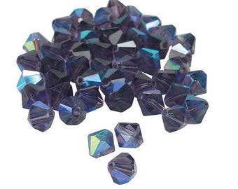 Amethyst Aurora Borealis Crystal Bicone Beads, 8mm with 1mm hole, pack of 48