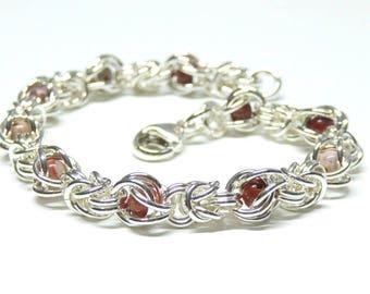 Sterling silver chain bracelet,925 sterling silver chainmail bracelet,red jasper bracelet,sterling silver byzantine bracelet,vicking jewelry