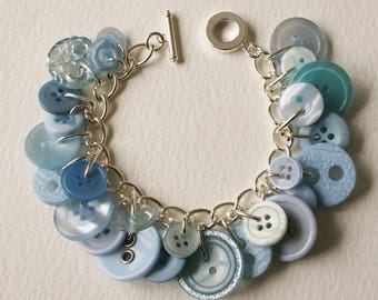 Button Bracelet Pastel Blue Mix