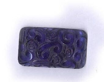 vintage glass CABOCHON COBALT BLUE translucent swirly raised design  pressed glass cabochon chunky shape