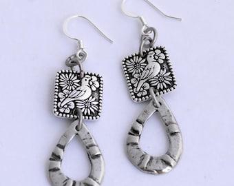 Paloma Blanca Earrings, Silver Dove Earrings, Artisan Pewter Charm Earrings, Unique Silver Earrings, Bird Jewelry, Valentine's Gift for her
