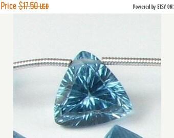 SHOP SALE Medium Blue Quartz Concave Triangle Trillion Gems Beads Briolettes 11mm - 12mm  (Matched Pair for earrings)