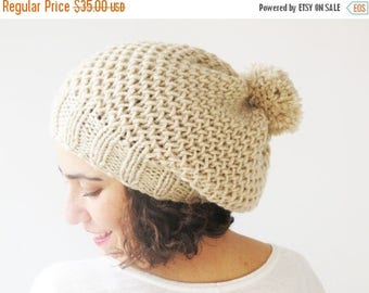 20% WINTER SALE Ecru Slouchy Hat with Pon Pon by Afra