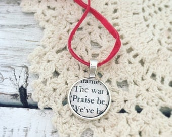 The Handmaid's Tale recycled book necklace, praise be, literary jewelry, book necklace, book jewelry, bookish gift