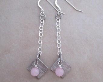 love earrings long pink rose quartz soldered copper sterling silver