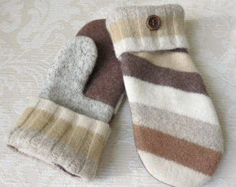 Repurposed Sweater Wool Mittens in Tan, Cream and Brown, Eco-Friendly Felted Wool Mittens, Adult Size