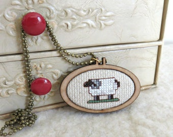 Sheep Cross Stitch Pendant, Modern Wearable Cross Stitch Mini Hoop, Cross Stitch Keepsake Sheep Necklace
