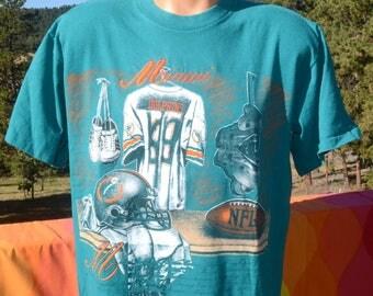 vintage 90s t-shirt miami DOLPHINS football nfl nutmeg mills tee Medium