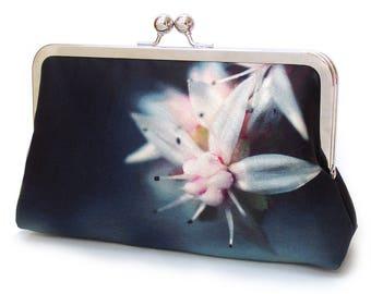 Starflower clutch bag, flower purse, printed silk, navy, white, pink, handbag