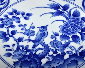 Vintage Chinoiserie Asian Blue & White Porcelain Plate, Bird and Cherry Blossom Motif