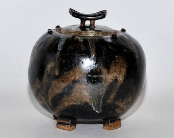 Studio Pottery Stoneware Black Brown Earth Tone Drip Glaze Jar with Lid