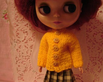 Blythe Yellow Sweater and Socks for Pullip and Vintage Skipper Dolls