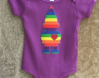 Rainbow Stripe Gnome LOVE Baby Bodysuit - Cute Mushroom Detail on the Backside - Great Baby Shower, Birthday Gift - Fun Photo Shoot Clothing