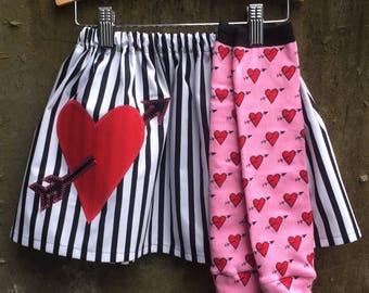 Girls Valentine's Day Skirt and Leg Warmer Set - I HEART Stripes - Baby, Toddler, Big Kid Sizes - Birthday Gift or Photo Shoot Idea