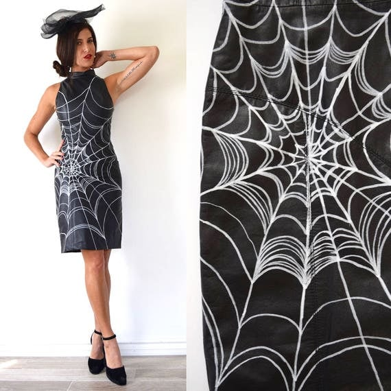 Vintage 90s does 50s Skintight Black Leather Spiderweb Custom Painted Hourglass Silhouette Pencil Dress (size xs)