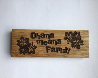 Ohana Means Family inspirational wood block decor