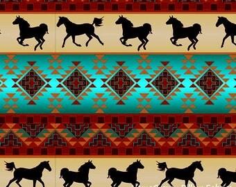 Spirit of the Southwest, Brick Turquoise Fabric by David Textiles, Horses, Cotton Fabric - YARD