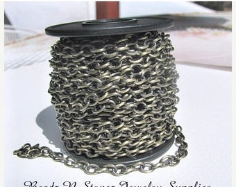 Summer Clearance Sale CLEARANCE - SPOOL - Antique Brass 4.6mm x 6.3mm Drawn Cable Chain