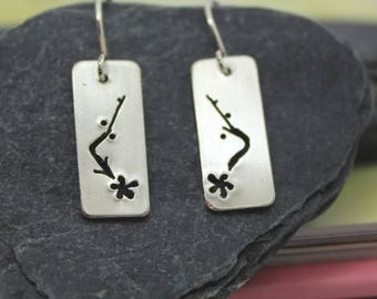 Cherry blossom bar earrings, saw-pierced, spring blossom, nature inspired