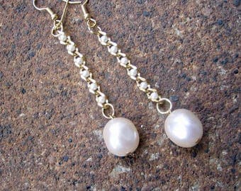 Eco-Friendly Dangle Earrings - Whirlwind in White - Recycled Vintage Goldtone Metal Beaded Chain and Large Pinched Glass Pearls